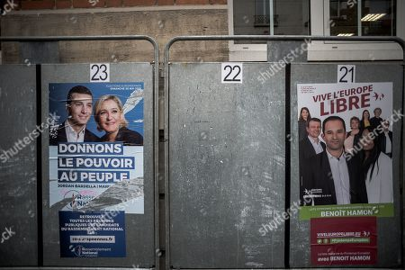 Jordan Bardella and Marine Le Pen (Rassemblement National RN) and Benoit Hamon (Generations)