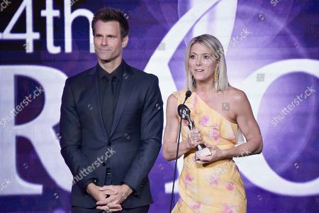 Cameron Mathison, Debbie Matenopoulos. Cameron Mathison, left, and Debbie Matenopoulos are honored during the 44th Annual Gracie Awards at the Beverly Wilshire Hotel, in Beverly Hills, Calif