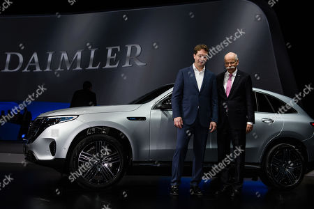 CEO of Mercedes-Benz Cars Dieter Zetsche (R) and designated CEO of Mercedes-Benz Cars Ola Kaellenius pose for photographers during the Daimler AG General Meeting in Berlin, Germany, 22 May 2019. The management and shareholders of the automotive engineering company Daimler AG gather in the German capital for the annual general meeting.