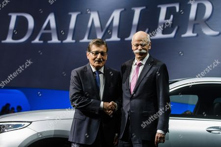 CEO of Mercedes-Benz Cars Dieter Zetsche (R) and Chairman of the Supervisory Board of Daimler AG Manfred Bischoff pose for photographers during the Daimler AG General Meeting in Berlin, Germany, 22 May 2019. The management and shareholders of the automotive engineering company Daimler AG gather in the German capital for the annual general meeting.