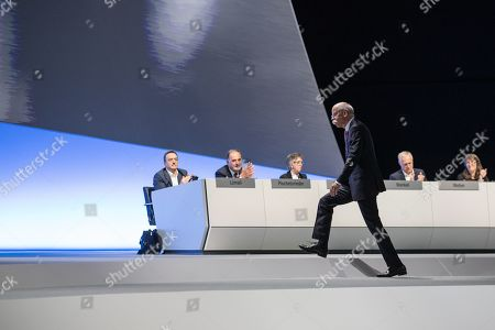 CEO of Mercedes-Benz Cars Dieter Zetsche leaves the stage as he finishes his speech during the Daimler AG General Meeting in Berlin, Germany, 22 May 2019. The management and shareholders of the automotive engineering company Daimler AG gather in the German capital for the annual general meeting.