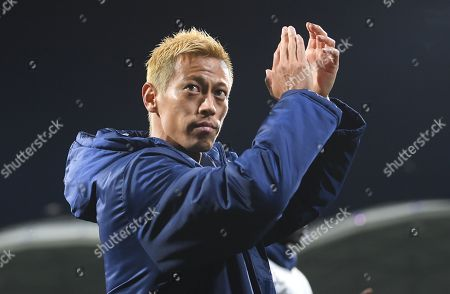 Keisuke Honda of Victory reacts after the AFC Champions League Group F match between the Melbourne Victory and the Sanfrecce Hiroshima at AAMI Park in Melbourne, Australia, 22 May 2019.