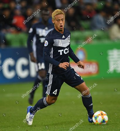 Keisuke Honda of the Victory in action during the AFC Champions League Group F match between the Melbourne Victory and the Sanfrecce Hiroshima at AAMI Park in Melbourne, 22 May 2019.