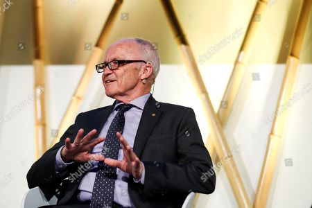 Stock Photo of Norwegian Economics Nobel-laureate Finn Kydland takes part in a panel session as part of the Nobel Prize Dialogue conference in Madrid, Spain, 22 May 2019. Several Nobel-laureates and scientist attend the one-day event.