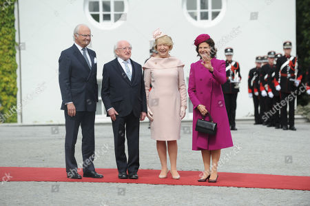 King Carl Gustaf (L) and Queen Silvia of Sweden (R) meet with Irish President Michael D.Higgins with his wife Sabina Higginsat Aras An Uachtarain, in Dublin, Ireland, 22 May 2019.