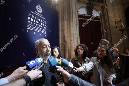 Cuban writer Leonardo Padura, member of Princess of Asturias Award for Literature's panel, talks to media after it was announced that US writer Siri Hustvedt (unseen) won the 2019 Princess of Asturias Award for Literature, in Oviedo, Asturias, northern Spain, 22 May 2019.The panel highlighted her concern about the essential issues of the contemporary ethics. The Princess of Asturias awarding ceremony will be held on next October.