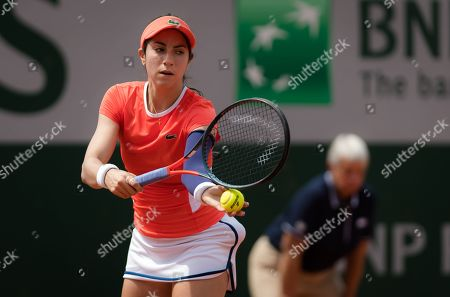 Christina McHale of the United States in action during the first qualification round at the 2019 Roland Garros Grand Slam tennis tournament