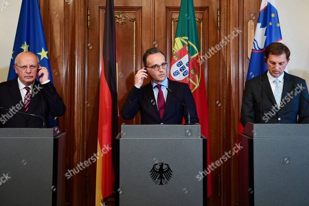 (L-R) Portugal's Foreign Minister Augusto Santos Silva, German Foreign Minister Heiko Maas and Slovenia's Foreign Minister Miro Cerar during a meeting at Villa Borsig, Guesthouse of the Foreign Minister, in Berlin, Germany, 22 May 2019. The meeting was held in the trio presidency format which is a diplomatic meeting, bringing together succeeding EU council presidencies, for further planning.