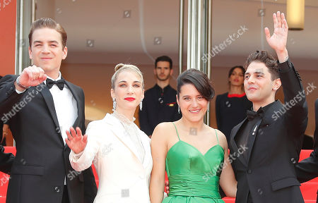 Antoine-Olivier Pilon, Canadian producer Nancy Grant, Canadian actress Catherine Brunet and Canadian director and actor Xavier Dolan arrive for the screening of 'Matthias and Maxime' (Matthias et Maxime) during the 72nd annual Cannes Film Festival, in Cannes, France, 22 May 2019. The movie is presented in the Official Competition of the festival which runs from 14 to 25 May.
