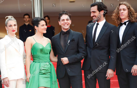 Nancy Grant, Canadian actress Catherine Brunet, Canadian director and actor Xavier Dolan, Canadian actor Gabriel d'Almeida Freitas and Canadian actor Samuel Gauthier arrive for the screening of 'Matthias and Maxime' (Matthias et Maxime) during the 72nd annual Cannes Film Festival, in Cannes, France, 22 May 2019. The movie is presented in the Official Competition of the festival which runs from 14 to 25 May.