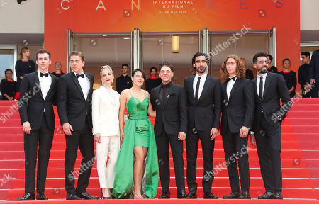 Moroccan actor Adib Alkhalidey, Canadian actor Samuel Gauthier, Canadian actor Gabriel d'Almeida Freitas, Canadian director and actor Xavier Dolan, Canadian actress Catherine Brunet, Canadian Nancy Grant, Canadian actor Antoine-Olivier Pilon and Canadian actor Pier-Luc Funk arrive for the screening of 'Matthias and Maxime' (Matthias et Maxime) during the 72nd annual Cannes Film Festival, in Cannes, France, 22 May 2019. The movie is presented in the Official Competition of the festival which runs from 14 to 25 May.
