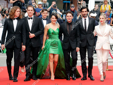 Canadian actor Samuel Gauthier, Canadian actor Antoine-Olivier Pilon, Canadian actress Catherine Brunet, Canadian director and actor Xavier Dolan, Canadian actor Gabriel d'Almeida Freitas and Canadian producer Nancy Grant arrive for the screening of 'Matthias and Maxime' (Matthias et Maxime) during the 72nd annual Cannes Film Festival, in Cannes, France, 22 May 2019. The movie is presented in the Official Competition of the festival which runs from 14 to 25 May.