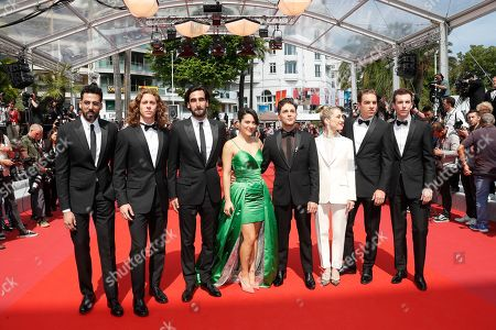 Moroccan actor Adib Alkhalidey, Canadian actor Samuel Gauthier, Canadian actor Gabriel d'Almeida Freitas, Canadian actress Catherine Brunet, Canadian director and actor Xavier Dolan, Canadian Nancy Grant, Canadian actor Antoine-Olivier Pilon and Canadian actor Pier-Luc Funk arrive for the screening of 'Matthias and Maxime' (Matthias et Maxime) during the 72nd annual Cannes Film Festival, in Cannes, France, 22 May 2019. The movie is presented in the Official Competition of the festival which runs from 14 to 25 May.
