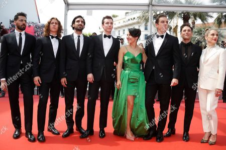 Moroccan actor Adib Alkhalidey, Canadian actor Samuel Gauthier, Canadian actor Gabriel d'Almeida Freitas, Canadian actor Pier-Luc Funk, Canadian actress Catherine Brunet, Canadian actor Antoine-Olivier Pilon, Canadian director and actor Xavier Dolan and Canadian producer Nancy Grant arrive for the screening of 'Matthias and Maxime' (Matthias et Maxime) during the 72nd annual Cannes Film Festival, in Cannes, France, 22 May 2019. The movie is presented in the Official Competition of the festival which runs from 14 to 25 May.