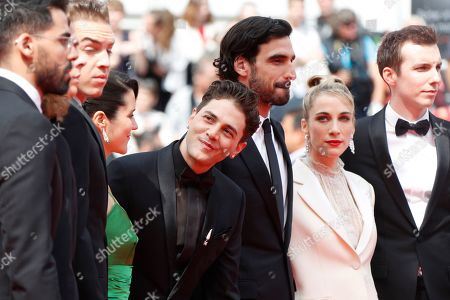 Moroccan actor Adib Alkhalidey, Canadian actor Antoine Pilon, Canadian actress Catherine Brunet, Canadian director and actor Xavier Dolan, Canadian actor Gabriel d'Almeida Freitas, Canadian producer Nancy Grant and Canadian actor Pier-Luc Funk arrive for the screening of 'Matthias and Maxime' (Matthias et Maxime) during the 72nd annual Cannes Film Festival, in Cannes, France, 22 May 2019. The movie is presented in the Official Competition of the festival which runs from 14 to 25 May.