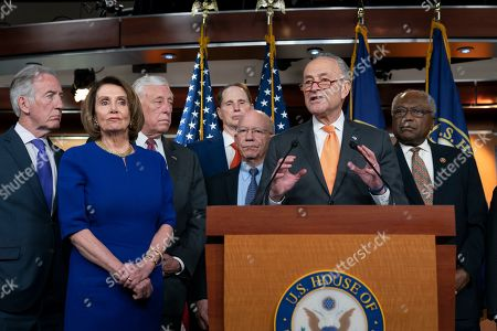 Nancy Pelosi, Chuck Schumer, Steny Hoyer, Ron Wyden, Peter DeFazio, Schumer, James E. Clyburn, Richrd Neal. Speaker of the House Nancy Pelosi, D-Calif., left, Senate Minority Leader Chuck Schumer, D-N.Y., center, and other congressional leaders, react to a failed meeting with President Donald Trump at the White House on infrastructure, at the Capitol in Washington, . From left are House Ways and Means Committee Chairman Richard Neal, D-Mass., Speaker Pelosi, House Majority Leader Steny Hoyer, D-Md., Sen. Ron Wyden, D-Ore., House Transportation and Infrastructure Committee Chair Peter DeFazio, D-Ore., Schumer, and House Majority Whip James E. Clyburn, D-S.C