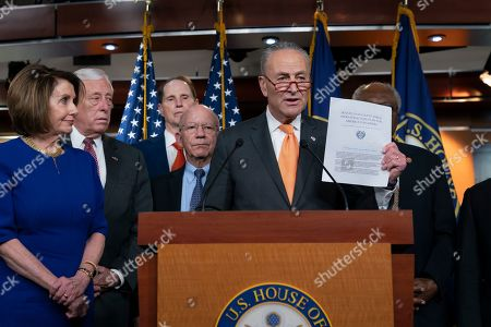 Nancy Pelosi, Chuck Schumer, Steny Hoyer, Ron Wyden, Peter DeFazio, Schumer. Speaker of the House Nancy Pelosi, D-Calif., left, Senate Minority Leader Chuck Schumer, D-N.Y., center, and other congressional leaders, react to a failed meeting with President Donald Trump at the White House on infrastructure, at the Capitol in Washington, . From left are Pelosi, House Majority Leader Steny Hoyer, D-Md., Sen. Ron Wyden, D-Ore., House Transportation and Infrastructure Committee Chair Peter DeFazio, D-Ore., and Sen. Schumer