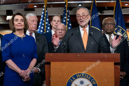 Nancy Pelosi, Chuck Schumer, Steny Hoyer, Ron Wyden, Peter DeFazio, Schumer, James E. Clyburn. Speaker of the House Nancy Pelosi, D-Calif., left, Senate Minority Leader Chuck Schumer, D-N.Y., center, and other congressional leaders, react to a failed meeting with President Donald Trump at the White House on infrastructure, at the Capitol in Washington, . From left are Pelosi, House Majority Leader Steny Hoyer, D-Md., Sen. Ron Wyden, D-Ore., House Transportation and Infrastructure Committee Chair Peter DeFazio, D-Ore., Schumer, and House Majority Whip James E. Clyburn, D-S.C