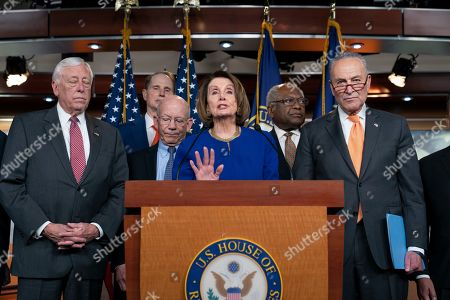 Nancy Pelosi, Chuck Schumer, Steny Hoyer, Ron Wyden, Peter DeFazio, Schumer, James E. Clyburn. Speaker of the House Nancy Pelosi, D-Calif., center, Senate Minority Leader Chuck Schumer, D-N.Y., right, and other congressional leaders, react to a failed meeting with President Donald Trump at the White House on infrastructure, at the Capitol in Washington, . From left are House Majority Leader Steny Hoyer, D-Md., Sen. Ron Wyden, D-Ore., House Transportation and Infrastructure Committee Chair Peter DeFazio, D-Ore., Pelosi, House Majority Whip James E. Clyburn, D-S.C., and Schumer
