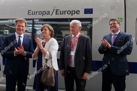 (L-R) Richard Lutz the CEO of German Deutsche Bahn AG,  National Railway Company of Belgium SNCB, CEO, Sophie Dutordoir, Belgian Minister Mobility Minister Francois Bellot and European Commission Vice-President  Maros Sefcovic  attend the naming ceremony of new Railway line Europa / Europe at Brussels Midi station in Brussels, Belgium, 22 May 2019. Deutsche Bahn will operate a new high speedICE Line from Belgium Brussels Midi to Frankfurt am Main, Germany seven times daily.