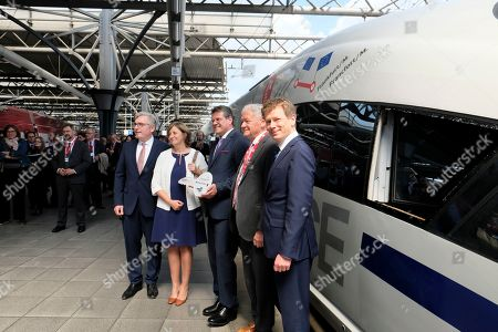 Richard Lutz (R) the CEO of German Deutsche Bahn AG, National Railway Company of Belgium SNCB, CEO, Sophie Dutordoir (2-L), Belgian Minister Mobility Minister Francois Bellot (2-R) and European Commission Vice-President  Maros Sefcovic (C) attend the naming ceremony of new Railway line Europa / Europe at Brussels Midi station in Brussels, Belgium, 22 May 2019. Deutsche Bahn will operate a new high speedICE Line from Belgium Brussels Midi to Frankfurt am Main, Germany seven times daily.