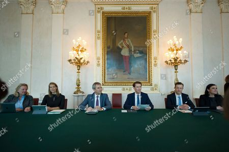 Stock Picture of Austrian Foreign Minister Karin Kneissl, Austrian Minister of Transport, Innovation and Technology, Valerie Hackl, Austrian Vice Chancellor Hartwig Loeger, Austrian Chancellor Sebastian Kurz, Austrian Media Minister Gernot Bluemel and Austrian Minister of Sustainability and Tourism Elisabeth Kostinger pose for the media during cabinet meeting after inauguration ceremony at Chancellors Office in Vienna, Austria, . Austrian Chancellor Sebastian Kurz has called for an early election after the resignation of his vice chancellor Heinz-Christian Strache from the Freedom Party spelled an end to his governing coalition