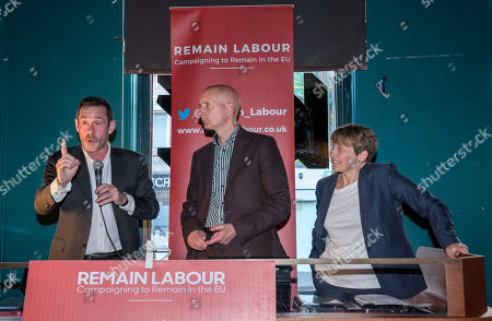 Left-right: Paul Mason, Andrew Adonis, Labour's no.2 MEP candidate for south west England, and Clare Moody, Labour's no.1 MEP candidate for south west England, speak at a Remain Labour rally at the The Love Inn on Stokes Croft organised by the Remain Labour group as part of campaigning in the elections for the European Parliament. Speakers included Labour's Deputy Leader Tom Watson, Paul Mason and MEP south west England candidates Clare Moody and Andrew Adonis.