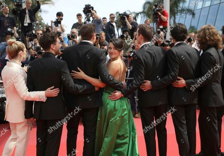 Nancy Grant, Antoine-Olivier Pilon, Catherine Brunet, Pier-Luc Funk, Gabriel d'Almeida Freitas, Samuel Gauthier, Adib Alkhalidey. Actress Nancy Grant, from left, director Xavier Dolan, actors Antoine-Olivier Pilon, Catherine Brunet, Pier-Luc Funk, Gabriel d'Almeida Freitas and Samuel Gauthier pose for photographers upon arrival at the premiere of the film 'Matthias and Maxime' at the 72nd international film festival, Cannes, southern France