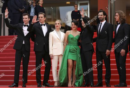 Pier-Luc Funk, Antoine Pilon, Nancy Grant, Catherine Brunet, Xavier Dolan, Gabriel D'Almeida Freitas, Samuel Gauthier. Pier-Luc Funk, from left, Antoine Pilon, Nancy Grant, Catherine Brunet, Xavier Dolan, Gabriel D'Almeida Freitas, and Samuel Gauthier pose for photographers upon arrival at the premiere of the film 'Matthias and Maxime' at the 72nd international film festival, Cannes, southern France