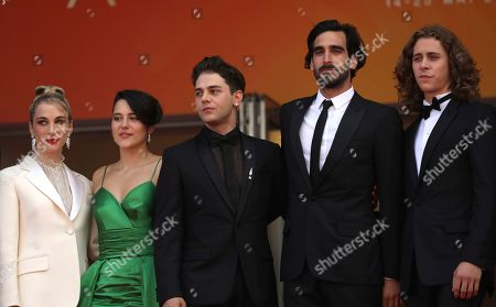Nancy Grant, Catherine Brunet, Xavier Dolan, Gabriel D'Almeida Freitas, Samuel Gauthier. Nancy Grant, from left, Catherine Brunet, Xavier Dolan, Gabriel D'Almeida Freitas, and Samuel Gauthier pose for photographers upon arrival at the premiere of the film 'Matthias and Maxime' at the 72nd international film festival, Cannes, southern France