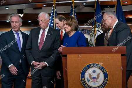Nancy Pelosi, Chuck Schumer, Steny Hoyer, Ron Wyden, Peter DeFazio, Schumer, James E. Clyburn, Richard Neal. Speaker of the House Nancy Pelosi, D-Calif., center, Senate Minority Leader Chuck Schumer, D-N.Y., right, and other congressional leaders, leaves a news conference after telling reporters about a failed meeting with President Donald Trump at the White House on infrastructure, at the Capitol in Washington, . Trump abruptly quit a meeting with the Democrats Wednesday with a flat declaration he would no longer work with them unless they drop their investigations in the aftermath of the special counsel's Trump-Russia report. From left are Ways and Means Committee Chairman Richard Neal, D-Mass., House Majority Leader Steny Hoyer, D-Md., Sen. Ron Wyden, D-Ore., House Transportation and Infrastructure Committee Chair Peter DeFazio, D-Ore., Speaker Pelosi, House Majority Whip James E. Clyburn, D-S.C., and Sen. Schumer