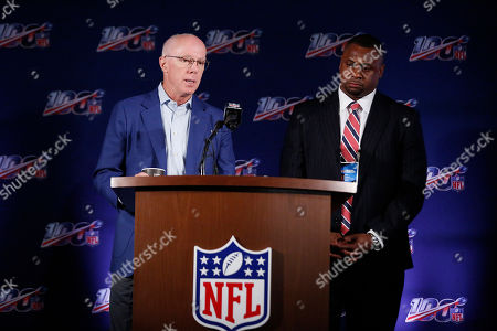 Rich McKay, Troy Vincent. Falcons President and CEO, Rich McKay, left, and Troy Vincent, Executive Vice President of Football Operations, right, speak to the media during the NFL football owners meeting, in Key Biscayne, Fla