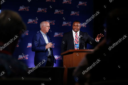 Rich McKay, Troy Vincent. Atlanta Falcons President and CEO, Rich McKay, left, and Troy Vincent, Executive Vice President of Football Operations for the NFL, right, speak to the media during the NFL football owners meeting, in Key Biscayne, Fla