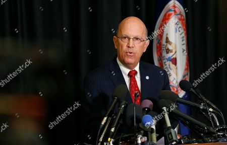 Stock Image of Dean of EVMS School of Medicine, Richard Homan, speaks to the media during a news conference on a report announcing the results of an investigation into a blackface photo that appeared on the yearbook page of Virginia Gov. Ralph Northam from his Eastern Virginia Medical School yearbook in Norfolk, Va