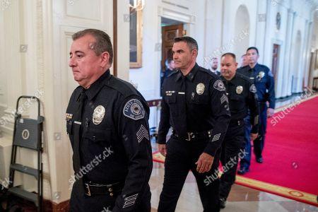 President Trump William Barr Officer Medal Valor Stock