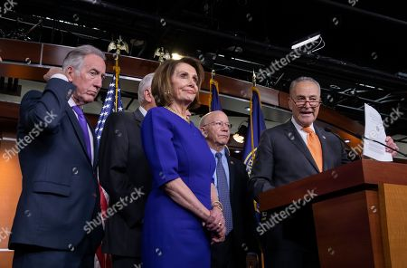 Democratic Speaker of the House from California Nancy Pelosi (C), Senate Minority Leader from New York Chuck Schumer (R)  and Democratic Representative from Massachusetts Richard Neal (L) hold a news conference at the Capitol in Washington, DC, USA, 22 May 2019. Pelosi said she 'prays' for President Donald J. Trump after a meeting at the White House on infrastructure ended abruptly.