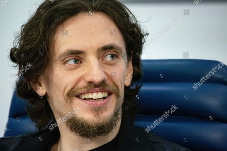 """International ballet stars Sergei Polunin speaks at a news conference in Moscow, Russia, . Polunin talked about his plans to perform in a new mixed program at the London Palladium theater, including world premiere of the drama ballet """"Rasputin"""