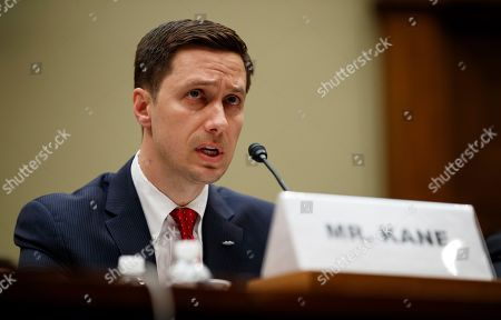 """Stock Picture of Twitter Public Policy Manager Kevin Kane testifies on Capitol Hill in Washington, during the House Oversight and Reform National Security subcommittee hearing on """"Securing U.S. Election Infrastructure and Protecting Political Discourse"""