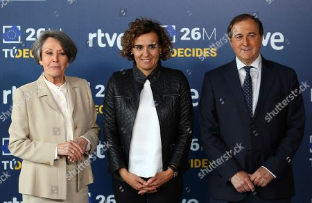 Stock Picture of Candidate to European MP of Spanish Party People's Party (PP) Dolors Montserrat (C) poses next to Spanish Public Television and Radio (RTVE) Administrator Rosa Maria Mateo (L) and Spanish Public Television (TVE) Director Eladio Jareno (R) prior to electoral debate at the Prado del Rey studios in Madrid, Spain, 22 May 2019. Spain is holding local, regional and European elections 26 May 2019.