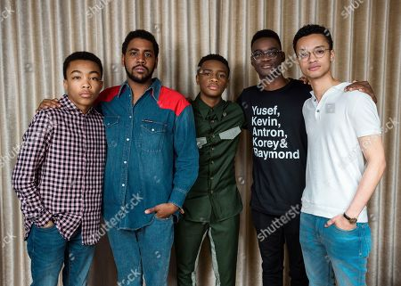 """This photo shows Asante Blackk, from left, Jharrel Jerome, Caleel Harris, Ethan Herisse, and Marquis Rodriguez posing at the Mandarin Oriental Hotel in New York to promote their Netflix show """"When They See Us"""