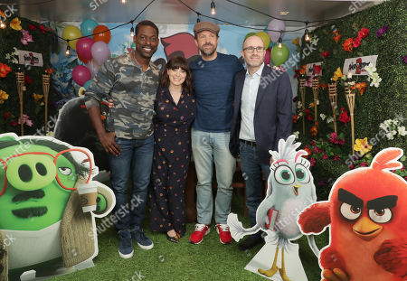 Sterling K. Brown, Rachel Bloom, Jason Sudeikis and Producer John Cohen at Columbia Pictures THE ANGRY BIRDS MOVIE 2 Photo Call at The London West Hollywood