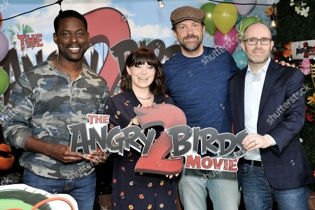 """Sterling K. Brown, Rachel Bloom, Jason Sudeikis, John Cohen. Sterling K. Brown, from left, Rachel Bloom, Jason Sudeikis and John Cohen attend a photo call for """"The Angry Birds Movie 2"""" at the London Hotel, in West Hollywood, Calif"""