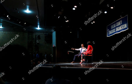 Democratic presidential candidate Mayor Pete Buttigieg, of South Bend, Indiana, talks with television news anchor Cheryl Wills (R) during an event organized by the Queens County Democratic Organization at LaGuardia Community College in Long Island City, New York, USA, 22 May 2019.