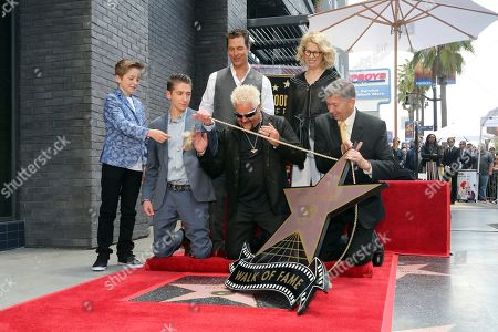 Ryder Fieri, Hunter Fieri, Matthew McConaughey, Guy Fieri, Kathleen Finch, Leron Gubler. Ryder Fieri, from left, Hunter Fieri, Matthew McConaughey, Guy Fieri, Kathleen Finch and Leron Gubler unveil a star during a ceremony honoring Guy Fieri with a star at the Hollywood Walk of Fame, in Los Angeles