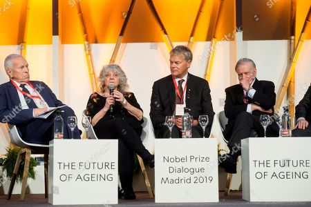 (L-R) Nobel Laureate of Economic Science Edmund Phelps, Nobel Laureate of Chemistry Ada Yonath, Nobel Laureate of Medicine Edvard Moser and Princess of Asturias award of Investigation Valentin Fuster attend the closing event of the Dialogue of Nobel 2019 in Madrid, Spain, 21 May 2019.