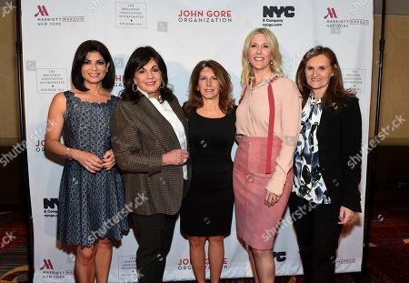 Tamsen Fadal, Charlotte St. Martin, Kelly Ann Curtin, Lauren Reid, Cristyne Nicholas. Honorees Kelly Ann Curtin, center, EVP of NYC & Company, and Lauren Reid, center right, COO of John Gore Organization, pose with emcee and PIX11 news anchor Tamsen Fadal, left, Charlotte St. Martin, second left, President of The Broadway League, and Cristyne Nicholas, right, Chair of The Broadway Association, at the 108th Annual Broadway Association Awards Luncheon, at the New York Marriott Marquis