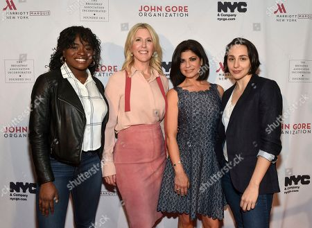 Stock Picture of Celia Gooding, Lauren Reid, Tamsen Fadal, Lauren Patten. Honoree Lauren Reid, center left, COO of John Gore Organization, poses with emcee and PIX11 news anchor Tamsen Fadal, center right, and actresses Celia Gooding, left, and Lauren Patten, right, of the upcoming musical Jagged Little Pill, at the 108th Annual Broadway Association Awards Luncheon, at the New York Marriott Marquis