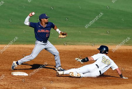 Auburn shortstop Will Holland (17) throws to first for the double play as Vanderbilt's Ty Duvall (20) slides into second base during the second inning of a Southeastern Conference tournament NCAA college baseball game, in Hoover, Ala