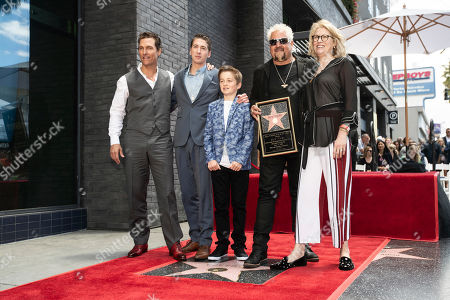 Matthew McConaughey, Hunter Fieri, Ryder Fieri, US chef and TV personality Guy Fieri and Discovery chief lifestyle brands officer Kathleen Finch pose for a hptograph after the unveiling of Guy Fieri's star on the Hollywood Walk of Fame in Hollywood, California, USA, 22 May 2019. The star, the 2,664th and third to be given to a chef, was dedicated in the category of television.
