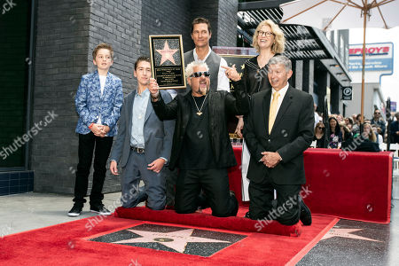 Ryder Fieri, Hunter Fieri, US actor Matthew McConaughey, US chef and TV personality Guy Fieri and Discovery chief lifestyle brands officer Kathleen Finch pose for a photograph during the unveiling of Guy Fieri's star on the Hollywood Walk of Fame in Hollywood, California, USA, 22 May 2019. The star, the 2,664th and third to be given to a chef, was dedicated in the category of television.